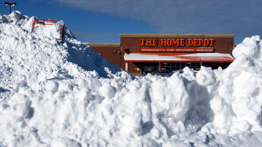 A Home Depot in Boston after a January snowstorm.