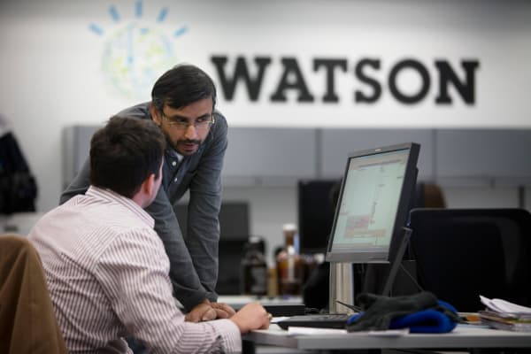 Watson researchers work inside IBM's Thomas J. Watson Research Center, in Yorktown Heights, New York, Feb. 11, 2014.