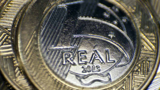 One real coins are produced at the Casa da Moeda, Brazil's national mint, in Rio de Janeiro, Brazil.