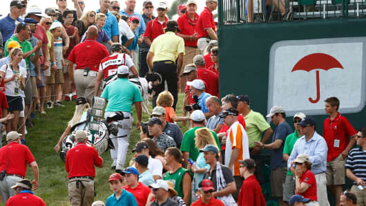 Fans at the 18th hole of the Travelers Championship at TPC River Highlands on June 22, 2013 in Cromwell, Connecticut.