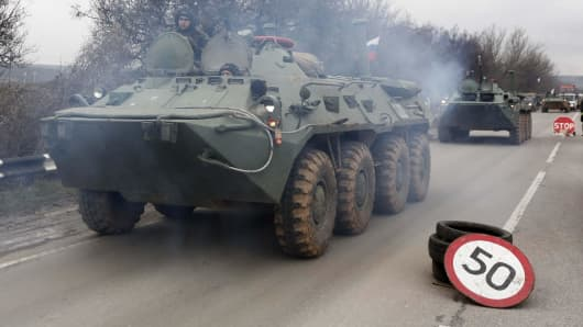 A Russian armored personnel carrier, photographed in February 2014