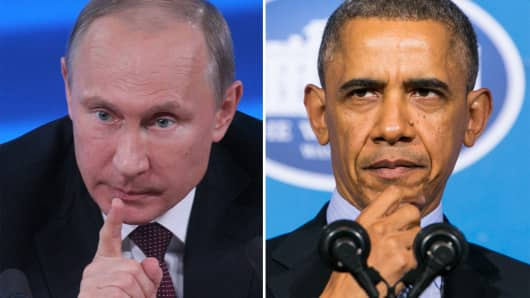 Russian President Vladimir Putin and President Barack Obama.