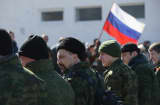 A unit claiming to Cossack and other citizen pro-Russian volunteers arrive