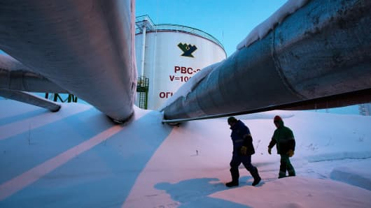 The central processing plant for oil and gas in Salym, Russia, Feb. 4, 2014. Salym Petroleum Development is a venture between Shell and Gazprom Neft.