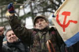 Pro-Russian supporters rally outside the Crimean parliament building on Feb. 28, 2014 in Simferopol, Ukraine.