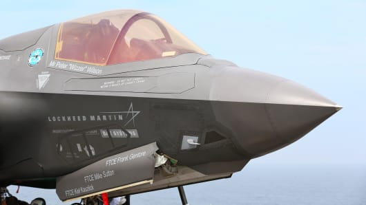 Joint Strike Fighter F-35 Lightning II on the deck of USS Wasp, Aug. 28, 2013.
