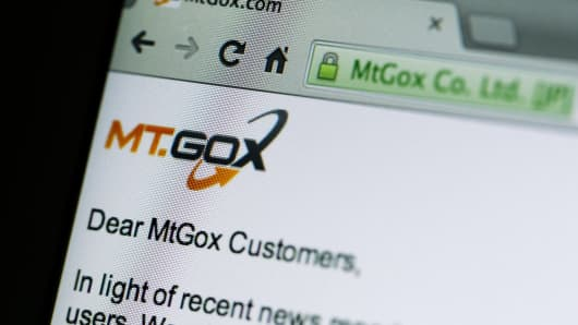 The website of Mt. Gox, showing a statement after the company went offline.