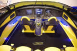 Detail of the inside of Marine Technology's Aventador boat, which is modeled after a Lamborghini, down to the icon