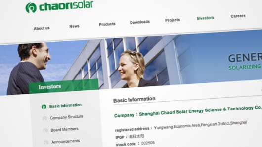 Web page of Chaori Solar Energy