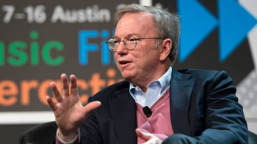 Eric Schmidt, executive chairman of Google, speaks during the South By Southwest (SXSW) Interactive Festival in Austin, Texas, March 7, 2014.