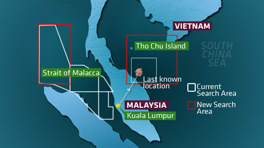 Map showing the expanded areas of search for the MH370 flight that went missing early Saturday in mid-flight from Kuala Lumpur to Beijing.