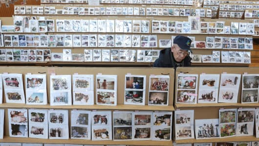 An elderly man looks through photographs, which were repaired after being washed away by the earthquake and tsunami at a gymnasium March 10, 2014 in Sendai, Miyagi prefecture, Japan.