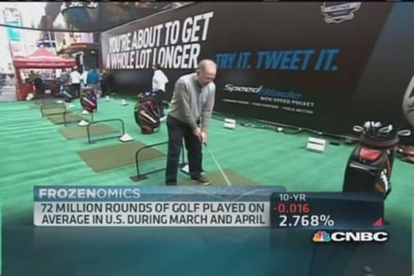 Too much snow? Golf at Times Square