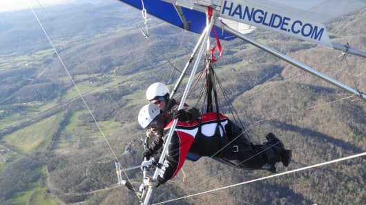 Brandon Suggs hang gliding.