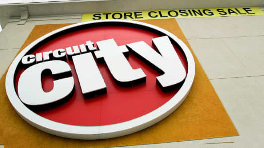 A Circuit City advertises a store closing sale in Greensboro, North Carolina, Jan. 25, 2009