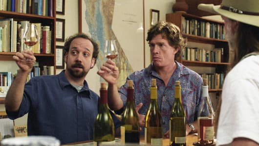 "Actors Paul Giamatti, left, and Thomas Haden Church appear in a scene from ""Sideways."""