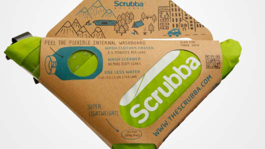 The Scrubba is a foldable, watertight wash bag with a flexible internal washboard.
