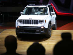 A Jeep Renegade SUV, is driven on to the stage during its launch at the 84th Geneva International Motor Show in Geneva, Switzerland, March 4, 2014.