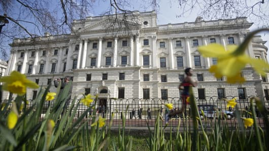 The U.K. government's treasury building in London, U.K.