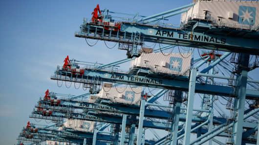 Shipping cranes unload a container ship at the Port of Virginia APM Terminal in Portsmouth, Virginia.