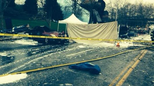 Helicopter crash scene near Seattle's Space Needle.