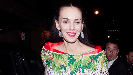 L'Wren Scott leaving the British Fashion Awards 2013 on December 2, 2013 in London, England.