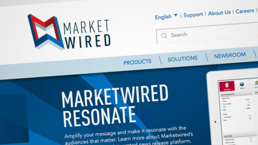 Marketwired web page