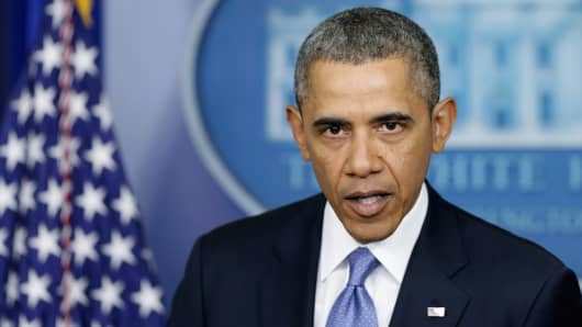 President Barack Obama gives a statement on the situation in the Ukraine in the Brady Press Briefing Room of the White House on March 17, 2014 in Washington, DC.