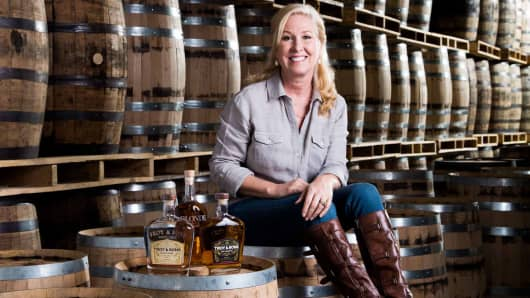 Asheville Distilling Co. founder Troy Ball, in her distillery.