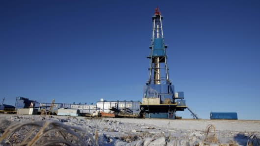 A drilling rig stands at OAO Gazprom's Bovanenkovo gas field