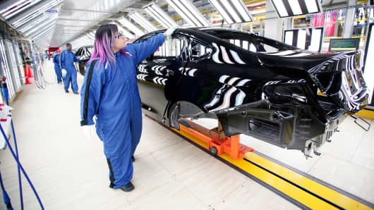 The new 2015 Chrysler 200 is shown in the paint shop at the Sterling Heights Assembly Plant in Sterling Heights, Mich.