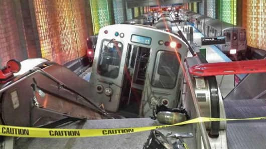 An eight-car Chicago Transit Authority train continued through the end of the platform and struck the escalators leading to the terminals at O'Hare International Airport on March 24, 2014.