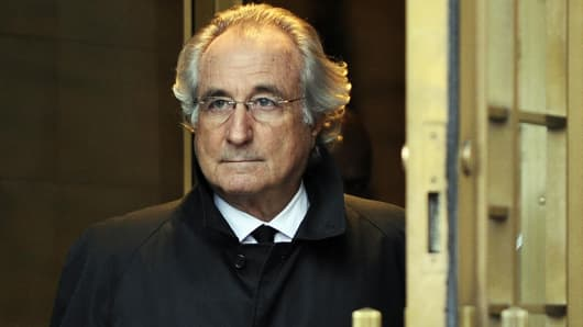 Bernard Madoff leaves U.S. Federal Court after a hearing regarding his bail on Jan. 14, 2009, in New York.