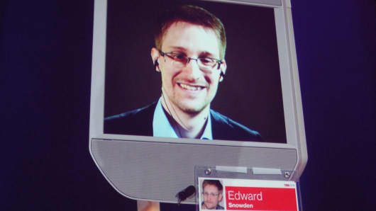 Former NSA contractor Edward Snowden appears by remote-controlled robot at a TED conference in Vancouver, March 18, 2014.