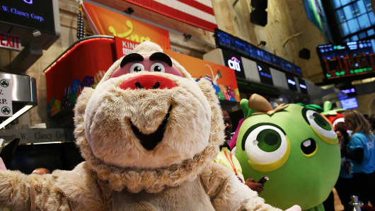 Characters from the game Candy Crush on the floor of the New York Stock Exchange, in honor of the mobile gaming company King holding its initial public offering at the NYSE on March 26, 2014 in New York City.