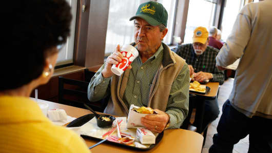 Customers at a Chick-fil-A restaurant in Bowling Green, Kentucky, on Tuesday, Mar. 25, 2014.
