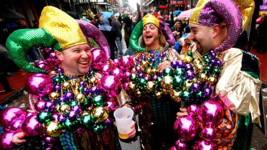Revelers party in the French Quarter on Mardi Gras Day, March 4, 2014 in New Orleans.