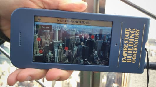 The Empire State Building observatory has added a new hand-held multimedia guide created by Antenna International.