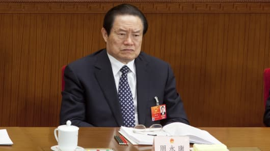 Zhou Yongkang, China's top security official, attends a plenary session on the draft amendment to the Criminal Procedure Law as China's National People's Congress (NPC) takes place in Beijing, China.