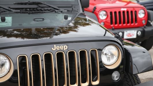 Jeep vehicles are offered for sale at the Marino Chrysler Jeep Dodge dealership in Chicago, Illinois.