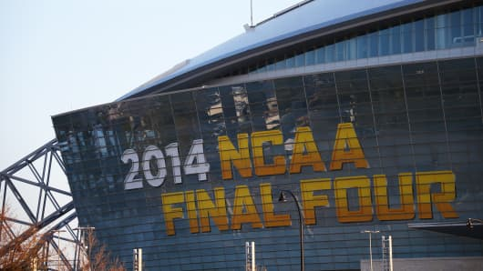 NCAA Final Four signage at AT&T Stadium on March 31, 2014 in Arlington, Texas