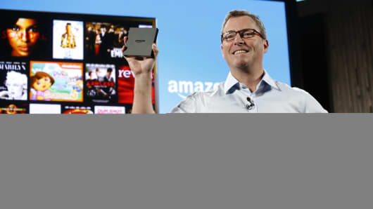 Peter Larsen, vice president of Amazon Inc., introduces Amazon FireTV during a news conference in New York.