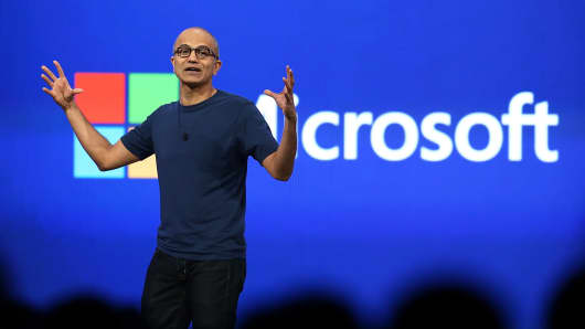 Microsoft CEO Satya Nadella delivers a keynote address during the 2014 Microsoft Build developer conference in San Francisco.