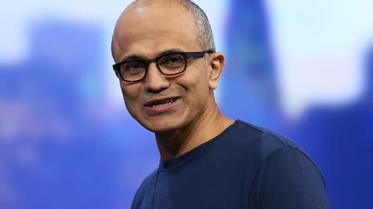 Microsoft CEO Satya Nadella delivers a keynote address during the 2014 Microsoft Build developer conference on April 2, 2014 in San Francisco.