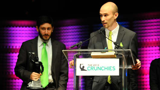 Imgur wins the award for Best Bootstrapped Startup at the 7th Annual Crunchies Awards, Feb. 10, 2014, in San Francisco.