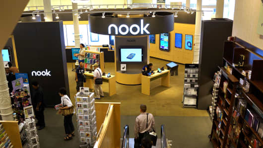 Nook signage in a Barnes & Noble bookstore in New York.