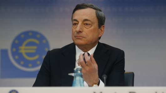 Mario Draghi, president of the European Central Bank (ECB), gestures while speaking during a news conference at the bank's headquarters in Frankfurt, Germany, on Thursday, April 3, 2014.