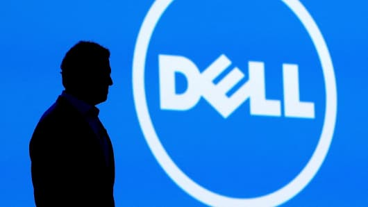 Michael Dell and the Dell logo