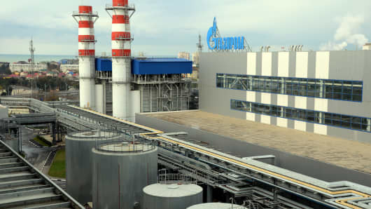 A view of the Russian gas giant Gazprom's recently built Adler thermal power plant in the Russian Black Sea resort of Sochi.