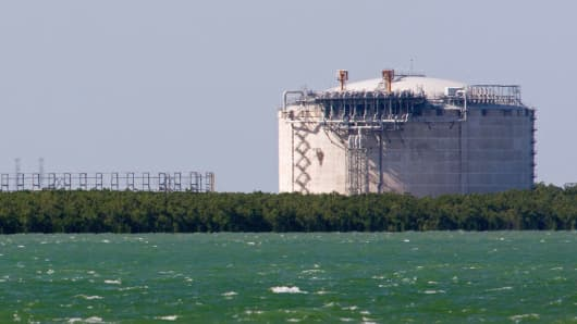 A liquefied natural gas plant stands in Darwin, Australia.
